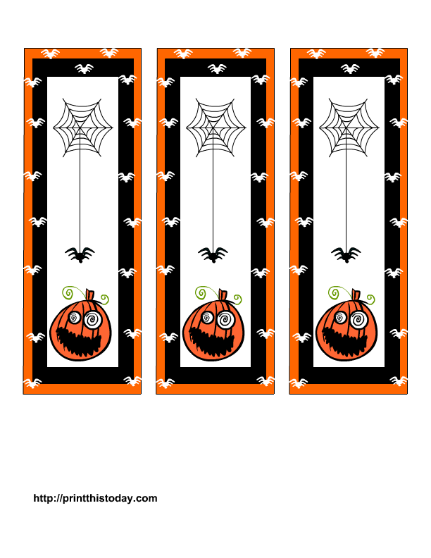 cute halloween bookmarks printable with spooky pumpkin and scary spider - Halloween Book Marks