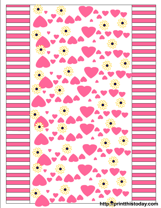 Hearts and Daisies free printable Valentine Candy Wrappers
