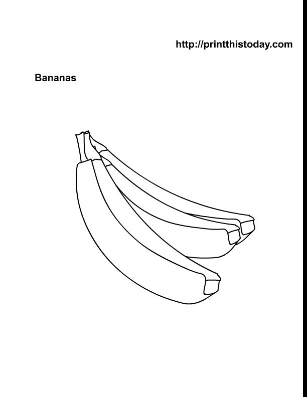 Banana Preschool Coloring Page