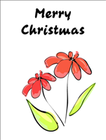 free printable floral christmas greeting card