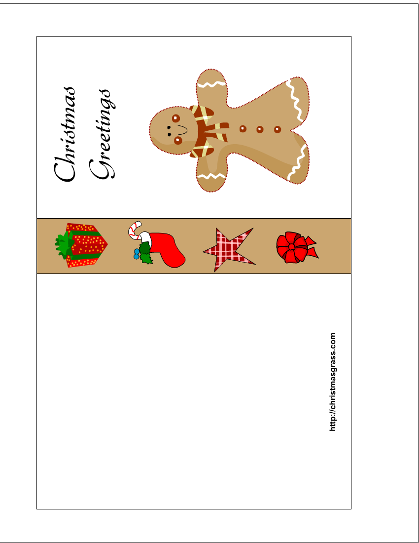 free printable christmas card with gingerbread man. Black Bedroom Furniture Sets. Home Design Ideas