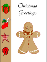 free printable christmas greeting card with ginger bread man