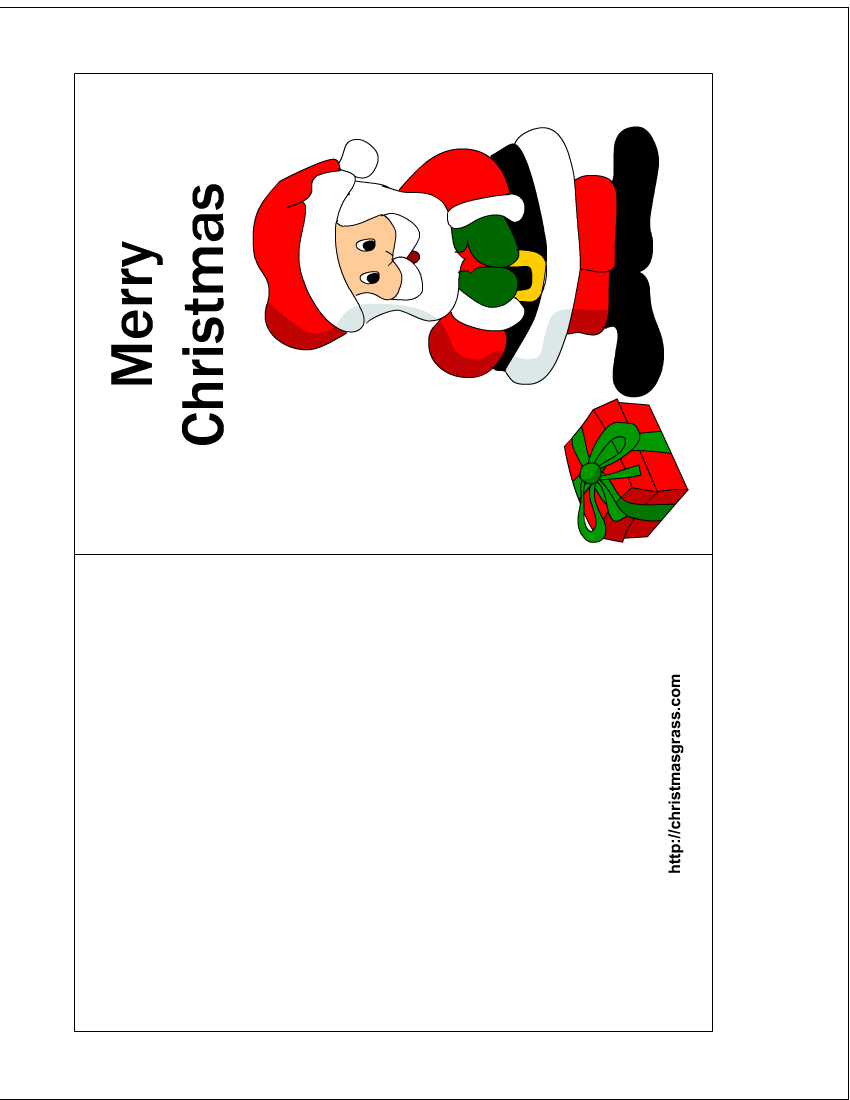 free printable christmas card with charming santa
