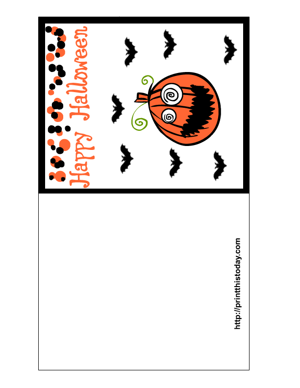 Dramatic image inside happy halloween cards printable