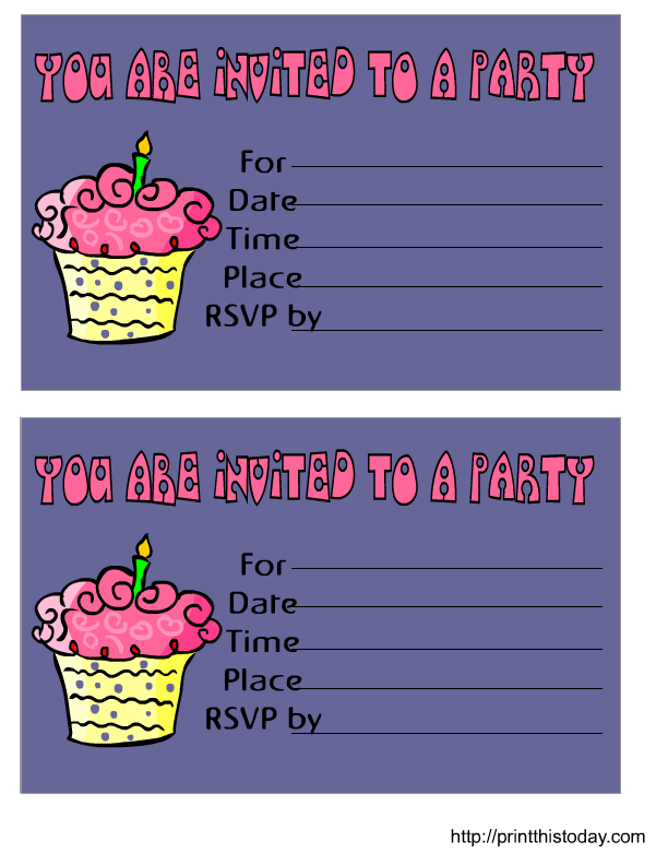 Cute Cup Cake Birthday Invitation Printable