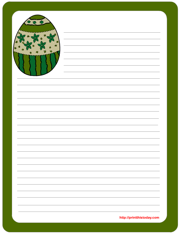Free printable easter stationery with colorful egg