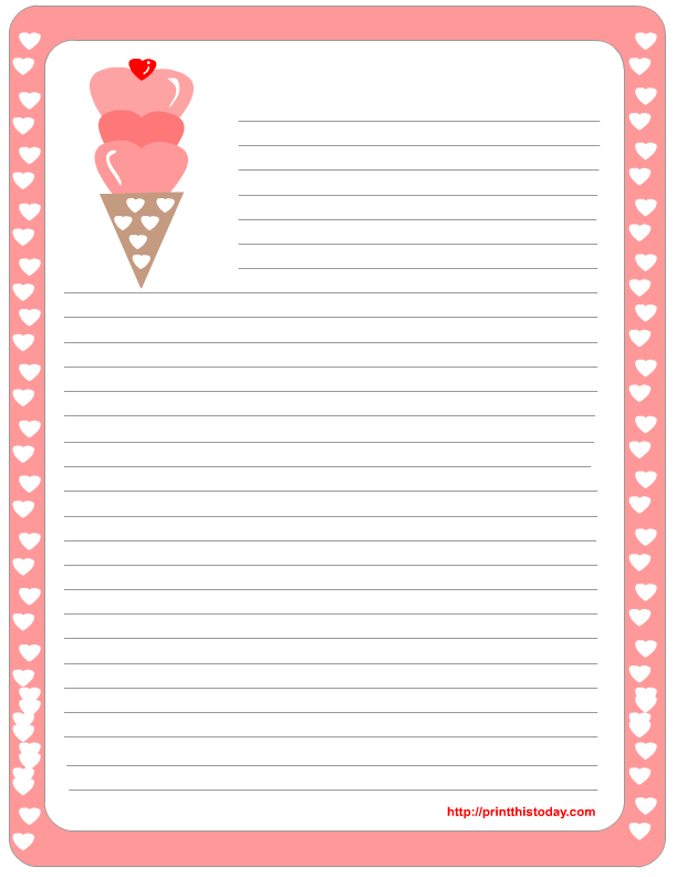 Sweet Valentine Stationery  Letter Writing Paper Template