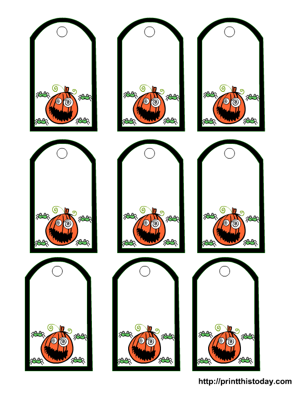 pumpkin face and spiders gift tag - Halloween Gift Tag