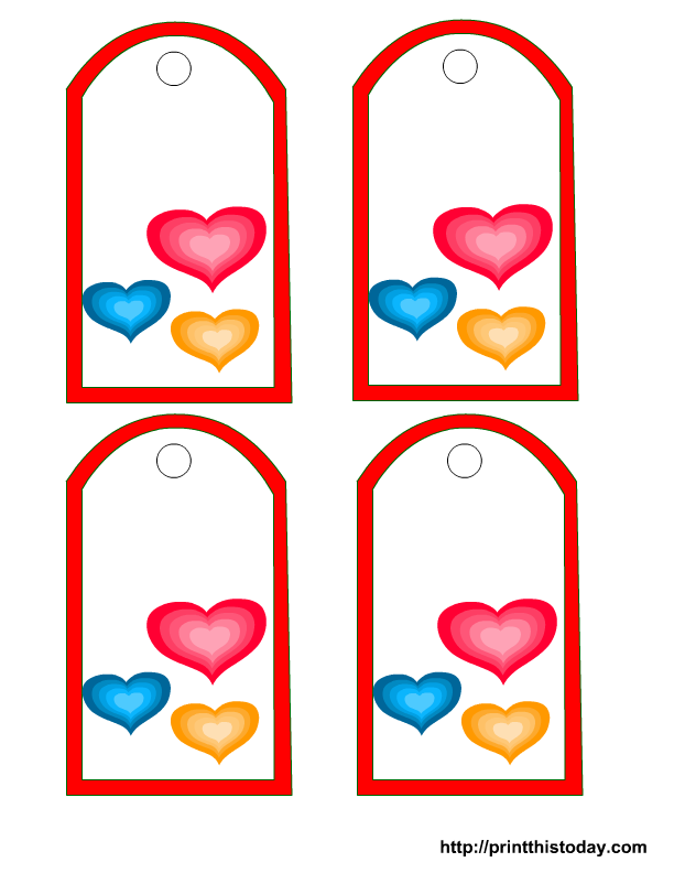 Free printable valentine tags colorful hearts negle Image collections