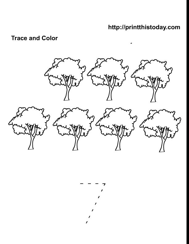 Free Printable Spring Flowers Math worksheets for Preschool – Number 7 Worksheet