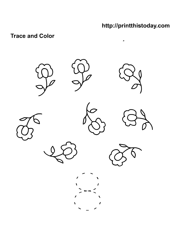 Printable Spring Flowers Math worksheets for Preschool