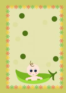 Free Printable Baby Shower Invitation Caucasian Pea Pod baby