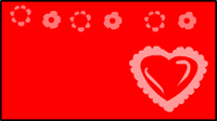 Red heart and flowers valentine Label