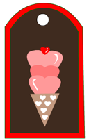 Valentine Tags with Heart Scoop Ice Cream
