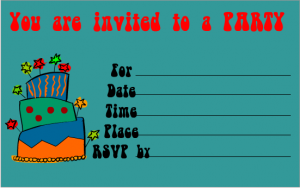 Funky Cake Printable Birthday Invite.