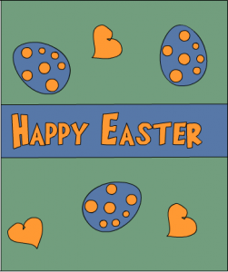 Easter card with easter eggs and hearts