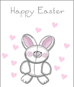 Cuddly Easter bunny and hearts