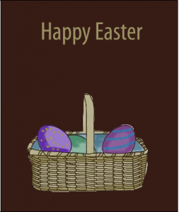 Basket with eggs and Happy Easter