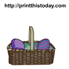 Cute and colorful easter basket with eggs