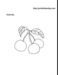 Free Printable Cherries Coloring Worksheet