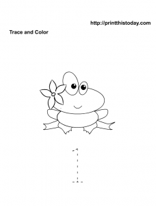 Free printable number 1 worksheet trace and color
