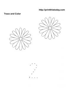 count and color two flowers and trace number two