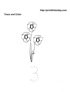 Trace number three math worksheet printable