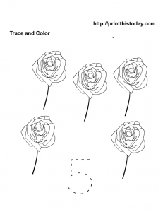 Free Printable trace and color number five