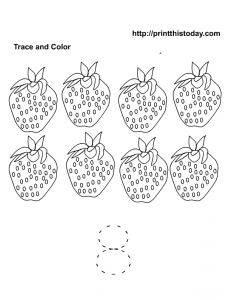 Free printable number 8 trace and color