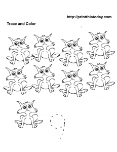 Number 9 trace and count worksheet