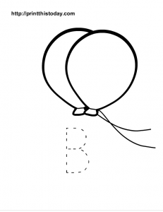 Letter B in upper case to trace and balloons to color
