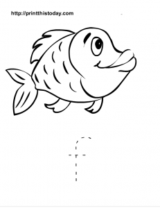 Letter f and fish worksheet for preschool kids