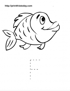Letter F tracing activity for kindergarten kids