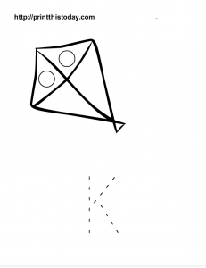 Capital letter K to color and a Kite to trace