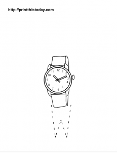 Letter W tracing sheet and a watch to color