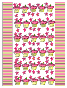 candy and gum wrapper with cup cakes