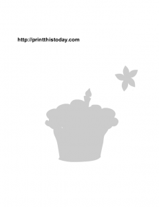 Cup cake and flower birthday stencil