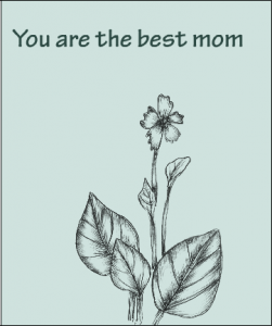 Mother's day card with hand drawn flower