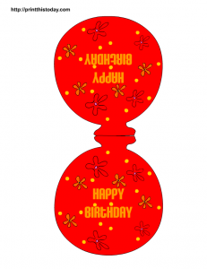 Red birthday balloon paper craft and decoration