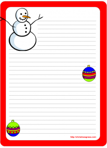 Cute snow man and ornaments free stationery