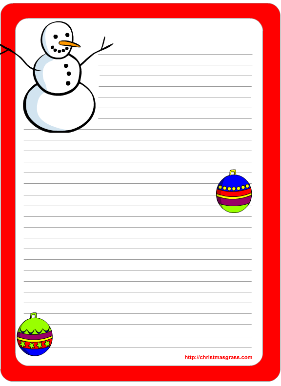 holiday writing paper printable