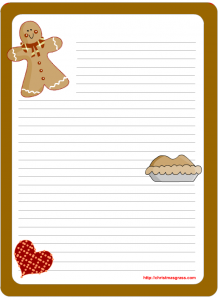 Printable Christmas writing paper Stationery with a Gingerbread man