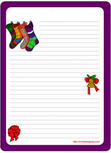 Stationary design with christmas stockings bells and bows
