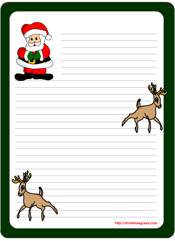 Free printable Letter pad Christmas Stationery with Santa