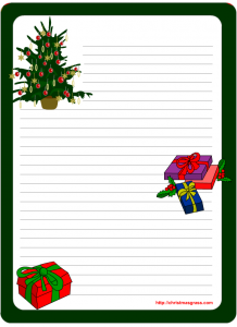 Printable Writing Pad stationery with Christmas tree and Gifts