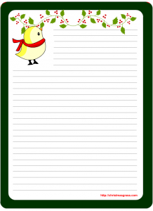Cute Christmas Writing Paper with a Bird