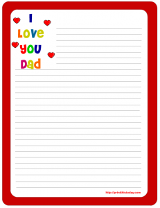 I love you dad free printable stationery template