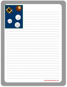 Sports balls stationery template