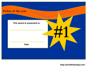 No 1 Dad fathers day certificate
