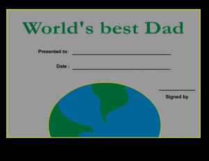 World's best Dad certificate